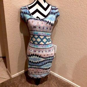 MULTICOLORED AZTEC BODYCON DRESS